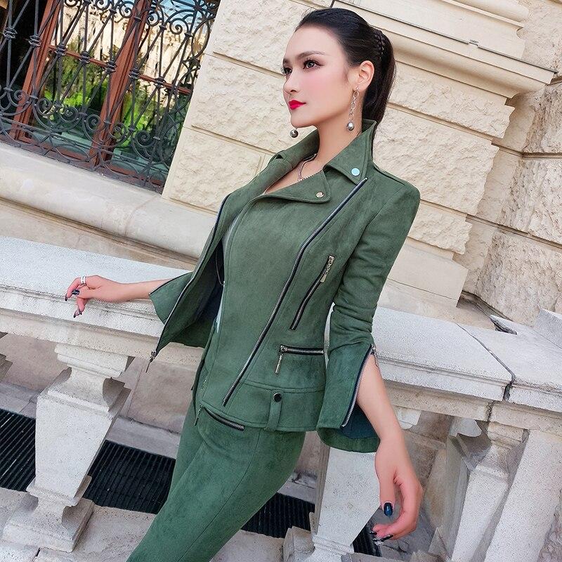 Daim Top Femelle Costume Femmes 2018 Army Pièce Polyester Printemps Green 2 Mode Pantalon En Nouveau Tempérament Deux Zipper pièce Plein De Pieds Acétate y8wm0OvNn