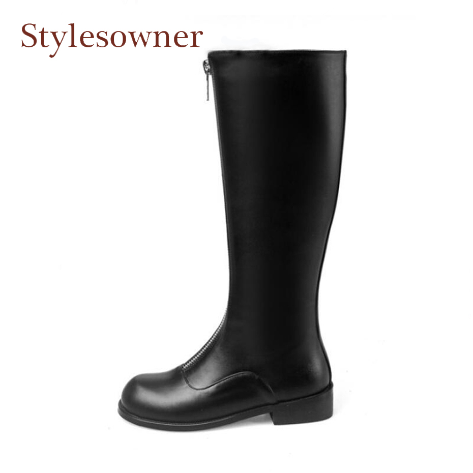Stylesowner high quality genuine leather women knee high boots front zipper square low heel knight boots fashion cozy women shoe 2017 new arrival winter plush genuine leather basic women boots knight zipper round toe low heel knee high boots zy170904