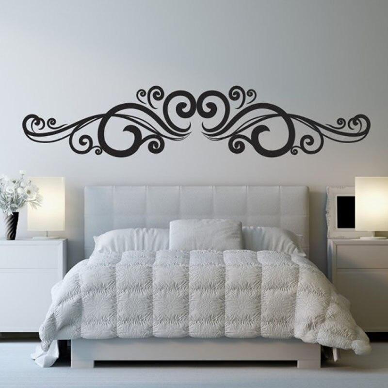 Qt033 Symmetrical Swirl Flowers Wall Sticker Bedroom