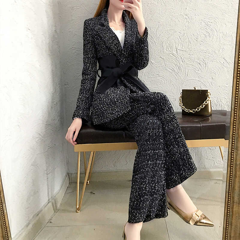ハイエンドウールのスーツの女性秋と冬の新韓国のファッション気質カジュアルひもスーツワイド脚パンツスーツツーピース
