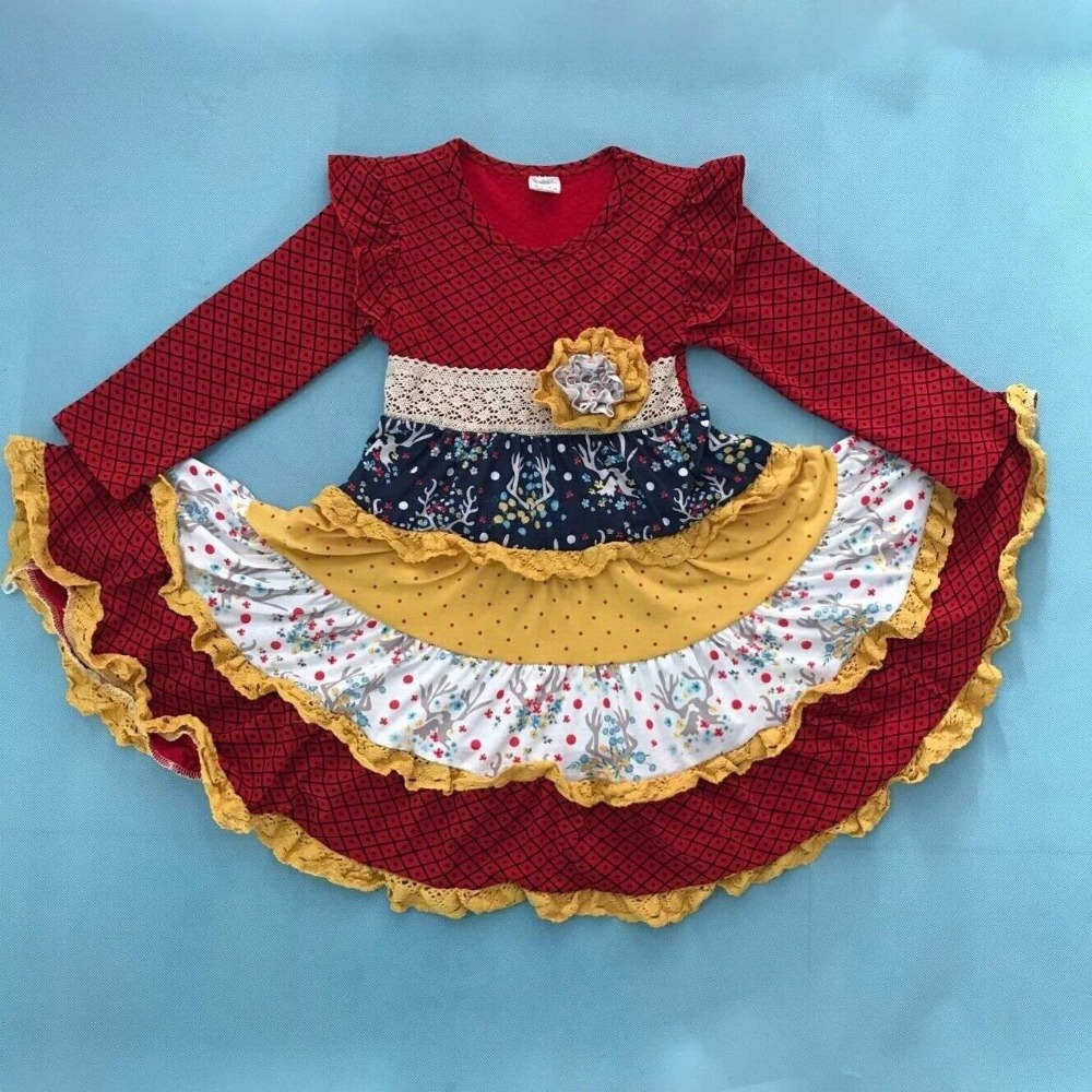 все цены на Girl Dress Princess Clothes Kids Floral Round Neck Long Sleeve Dress Mustard Pie Remake Boutique Ruffle Clothing