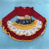 Girl Dress Princess Clothes Kids Floral Round Neck Long Sleeve Dress Mustard Pie Remake Boutique Ruffle