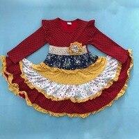 Vestido de la muchacha de La Princesa Ropa Niños Floral Cuello Redondo de Manga Larga Vestido de Mostaza Pastel Remake Ropa Boutique Ruffle CX015