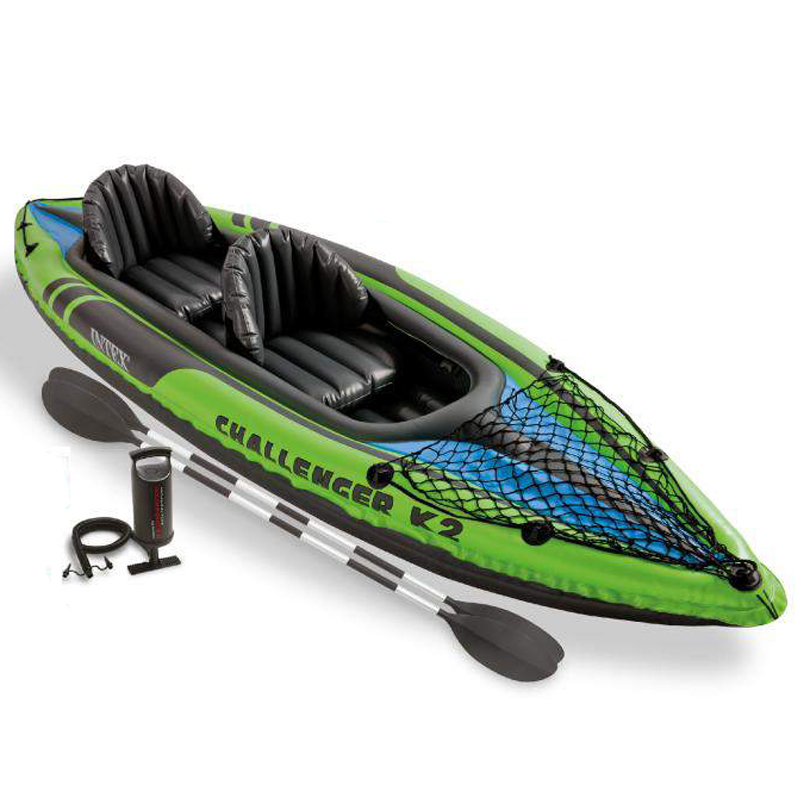 Intex Explorer K2 Kayak 2 Person Inflatable Kayak Set with Aluminum Paddles and Air Pump 68306 цена и фото