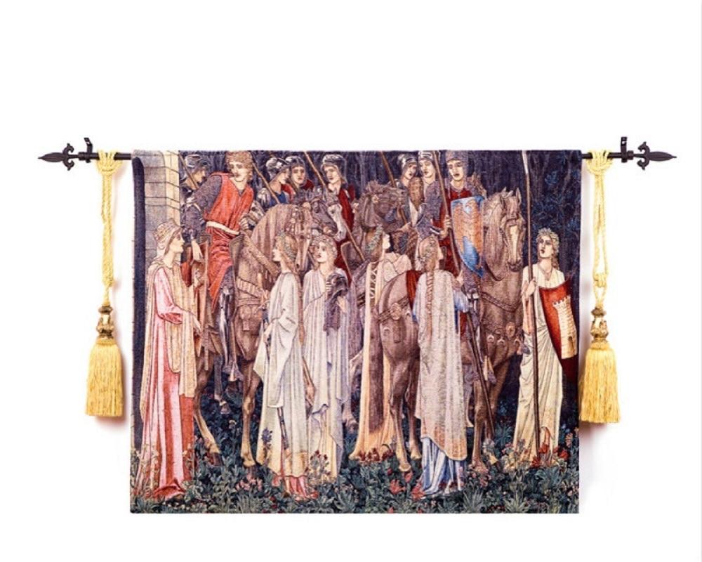 140*100 cm William Morris Santo graal war knight antiqu tessuto di cotone immagine della decorazione della casa della parete arazzi ST-55