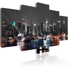 5 Pieces HD Canvas painting Home Decoration Wall Art Picture Prints of Beautifulcity night view Artwork Framed PJMT-42