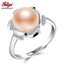 Trendy 925 Sterling Silver Pearl Ring for Female Anniversary Jewelry 9-10MM Pink Freshwater Rings Fine Gifts FEIGE