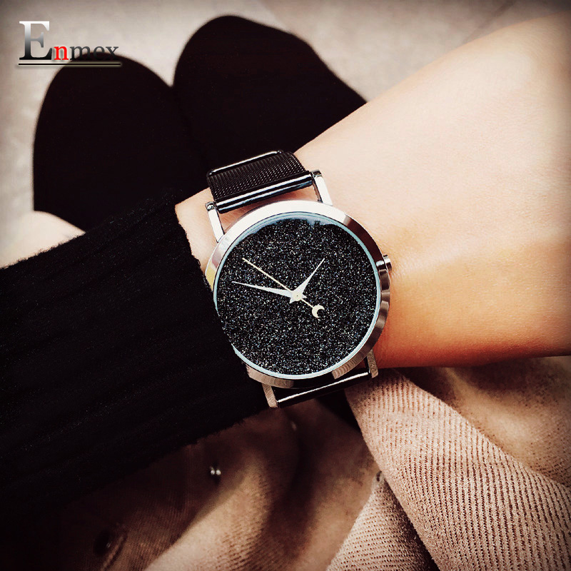 Ladies gift new style watch Enmex creative design dark matter concept design simple face steek band quartz fashion wristwatch 2017lady gift enmex design silicone strap creative changing patterns dail japanese style simple quietly elegant quartz watches