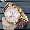 MCE Top Brand Men Mechanical Watch Luxury Fashion Automatic Self-Winding wristwatches for men Brown Leather Strap Wrist Watch