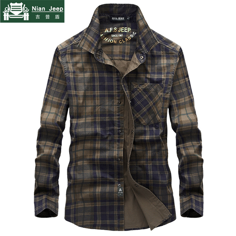 2020 Brand Military Shirt Men Plaid Chemise Homme Cotton Casual Cargo Men Shirt long Sleeve Soft Breathable Camisa masculina