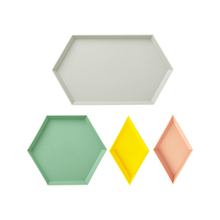 050 Home multifunctional Creative geometry color removable tray fruit 4pcs plate storage 32.8*18.9*1.8cm