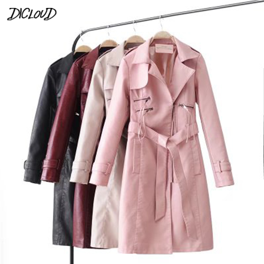 DICLOUD Motorcycle Long Leather Jacket Women Streetwaer Slim Casual Coat Ladies 2018 Faux Leather Coat Outerwear Bow Belt Suede