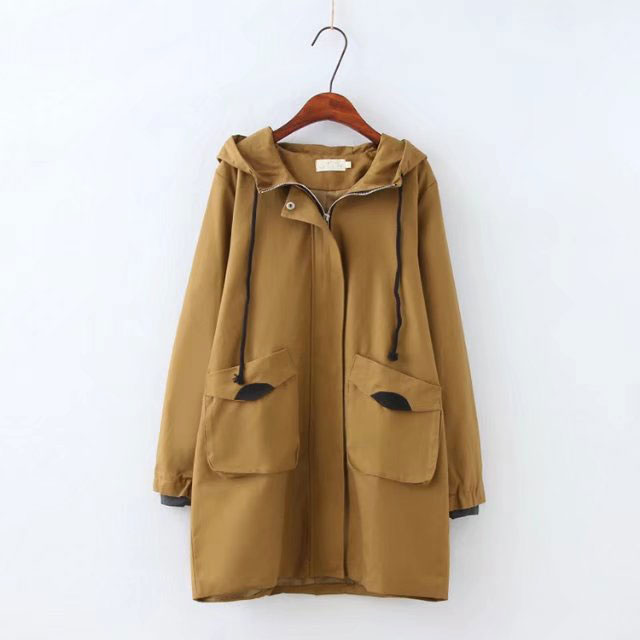 2019 Plus Size Loose   Trench   Coat For Women Autumn Casual Hooded Coat Women   Trench   Windbreaker Zipper Solid Overcoat Oversize 4XL