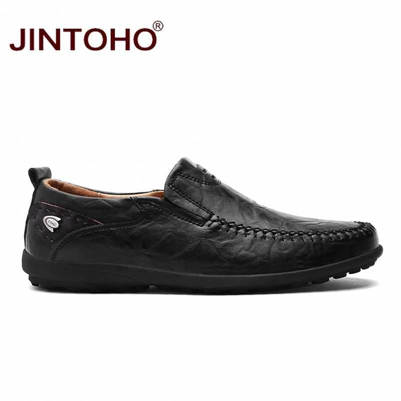 JINTOHO 2019 รองเท้าหนังผู้ชายแบรนด์ Mens แฟชั่นรองเท้าผู้ชายรองเท้าสบายๆหนังรองเท้าหนังแท้รองเท้าหนังผู้ชาย Loafers เรือรองเท้า