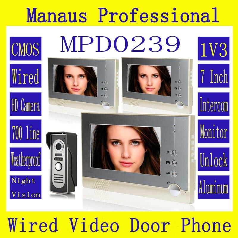 Professional 7Inch Wired Video Door Phone Door bell for Home Security IR Camera,One to Three Video Doorphone Doorbell D239a