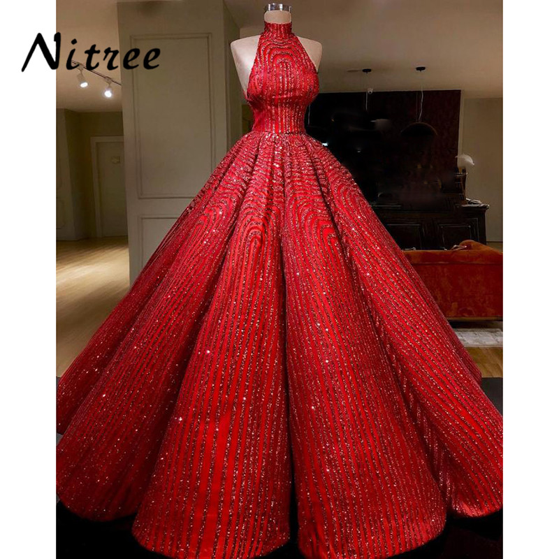 2018 Robe de soiree Ball Gown Evening Dresses Turkish Arabic In Dubai Bling Unique Formal Prom Gowns Dress For Weddings Kaftan