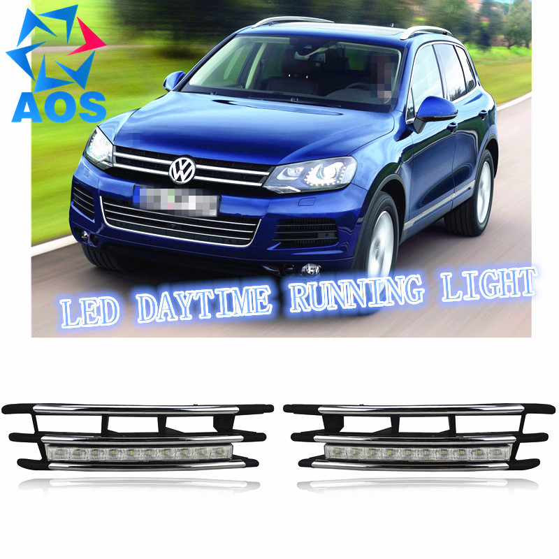 2PCs/set LED Car DRL Daytime Running Lights for Volkswagen VW Touareg 2012 2013 2014 with fog lamp eouns led drl daytime running light fog lamp assembly for volkswagen vw golf7 mk7 led chips led bar version