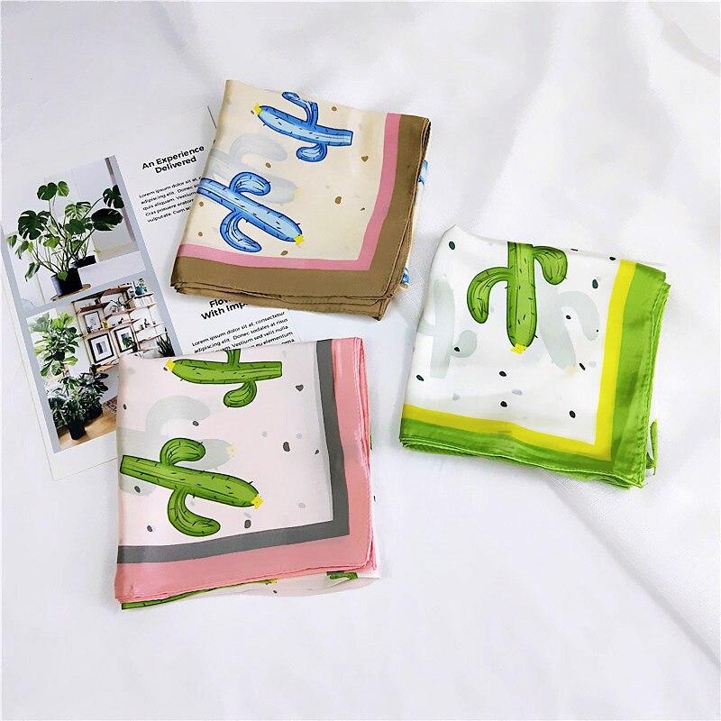 70*70 CM Women Square   Scarf   Neckerchief Foulard Multicolor Head Silk Bandana Cactus Print Small   Scarf     Wrap   Kerchief High Quality