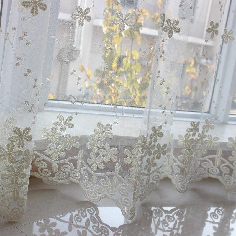 bordado de gasa pura barato d flor cortinas cortinas de la ventana de navidad cocina textiles