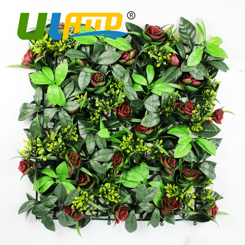 Diy garden wall art - Uland Artificial Succulents Plants Outdoor Hedges Fence Panels 50x50cm Pc Diy Garden Plastic Flower Wall