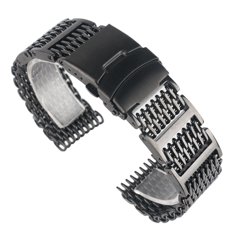 HQ 20mm 22mm 24mm Stainless Steel Black Shark Mesh Design Durable Watchband Strap Replacement for Men Women + 2 Spring Bars hq stainless steel watchband 20mm 22mm