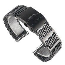 HQ 20mm 22mm 24mm Stainless Steel Black Shark Mesh Design Durable Watchband Strap Replacement for Men Women + 2 Spring Bars