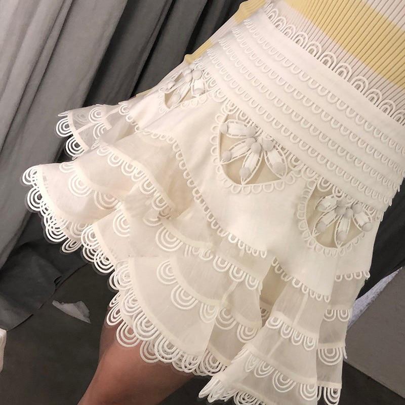 Alta De Encaje Falda Tutu 2019 blanco Sexy Cintura Faldas Moda Mini Mujer Negro Verano Vestido qwxxH41