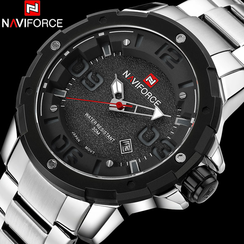 NAVIFORCE Brand Men's Sport Watches Men Quartz Watch Steel Band Auto Date Wristwatches For Men 30M Waterproof Relogio Masculino стоимость