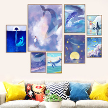 Dream Sea World Moon Star Whale Girl Wall Art Canvas Painting Watercolor Nordic Posters And Prints Pictures For Kids Room