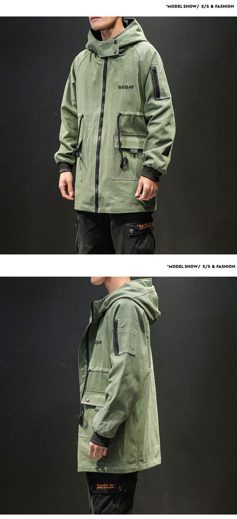 Army Green Trench Coat Men Korean Style Fashion Clothing Male Hooded Trench Coat Jacket   (10)