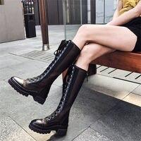 NAYIDUYUN Для женщин дышащая обувь из натуральной кожи до середины икры вечерние Сапоги для верховой езды высокая платформа летние туфли лодочк