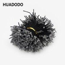 HUADODO 1 мм 500 шт черные двойные головки тычинки искусственные цветы для ручной работы DIY шелковые цветочные тычинки украшения