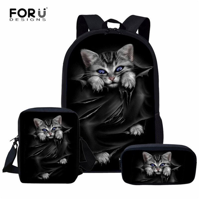 FORUDESIGNS 3pcs/Set School Bags For Girls Cute Black Cat Printing Children Orthopedic Backpack Kids Book Bags Mochila Infantil