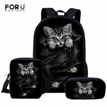 FORUDESIGNS 3pcs/Set School Bags for Girls Cute Black Cat Pr