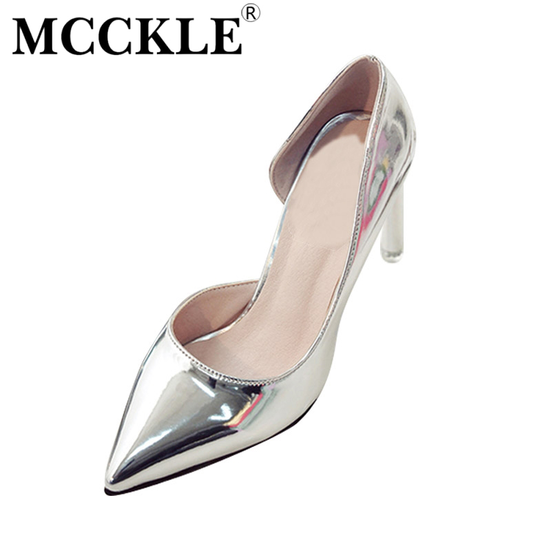 MCCKLE 2017 Fashion Women Shoes High Heels Woman Pointed Toe Patent Leather Ladies Sexy Party Pumps Casual Comfortable Black mcckle 2017 fashion woman shoes flat women platform round toe lace up ladies office black casual comfortable spring