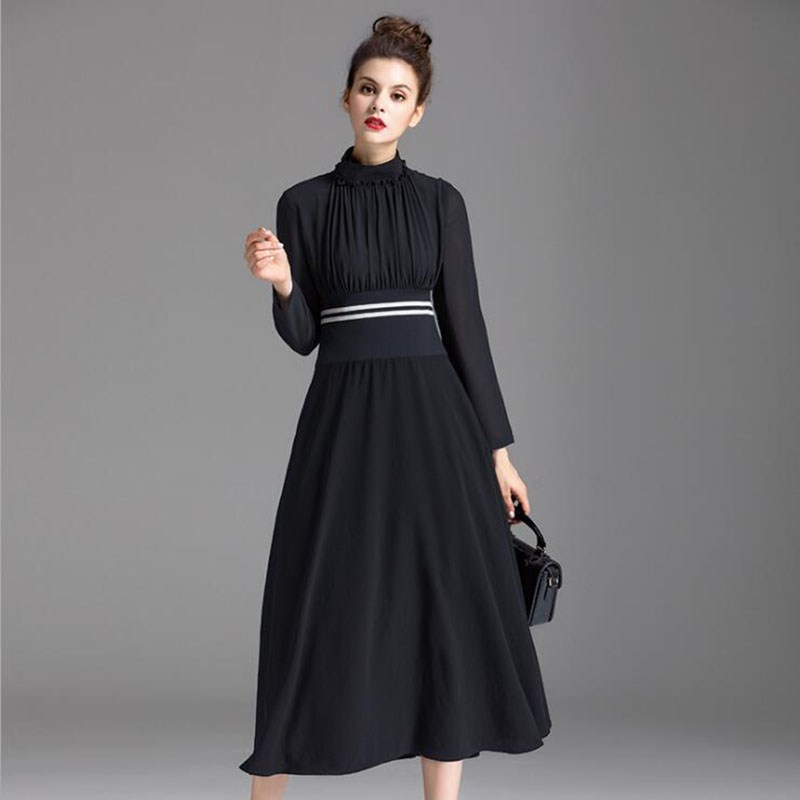 Fashion Designer runway Black Midi Dress Summer Women Long sleeve Stand collar Ruched Elastic waist Holiday Dress lc6181 2 ruched wrap midi dress black free size