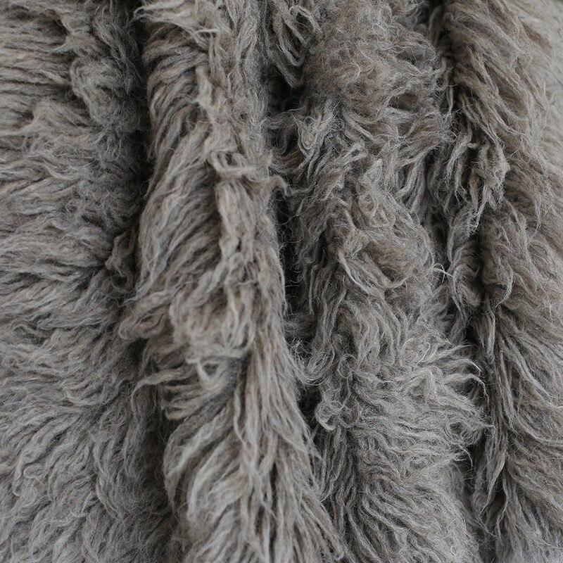 Grande couverture de fourrure grise pour nouveau-né couverture de laine bouclée naturelle tapis Chunky Flokati couverture de bébé gris accessoires de photographie couche de sac de haricot