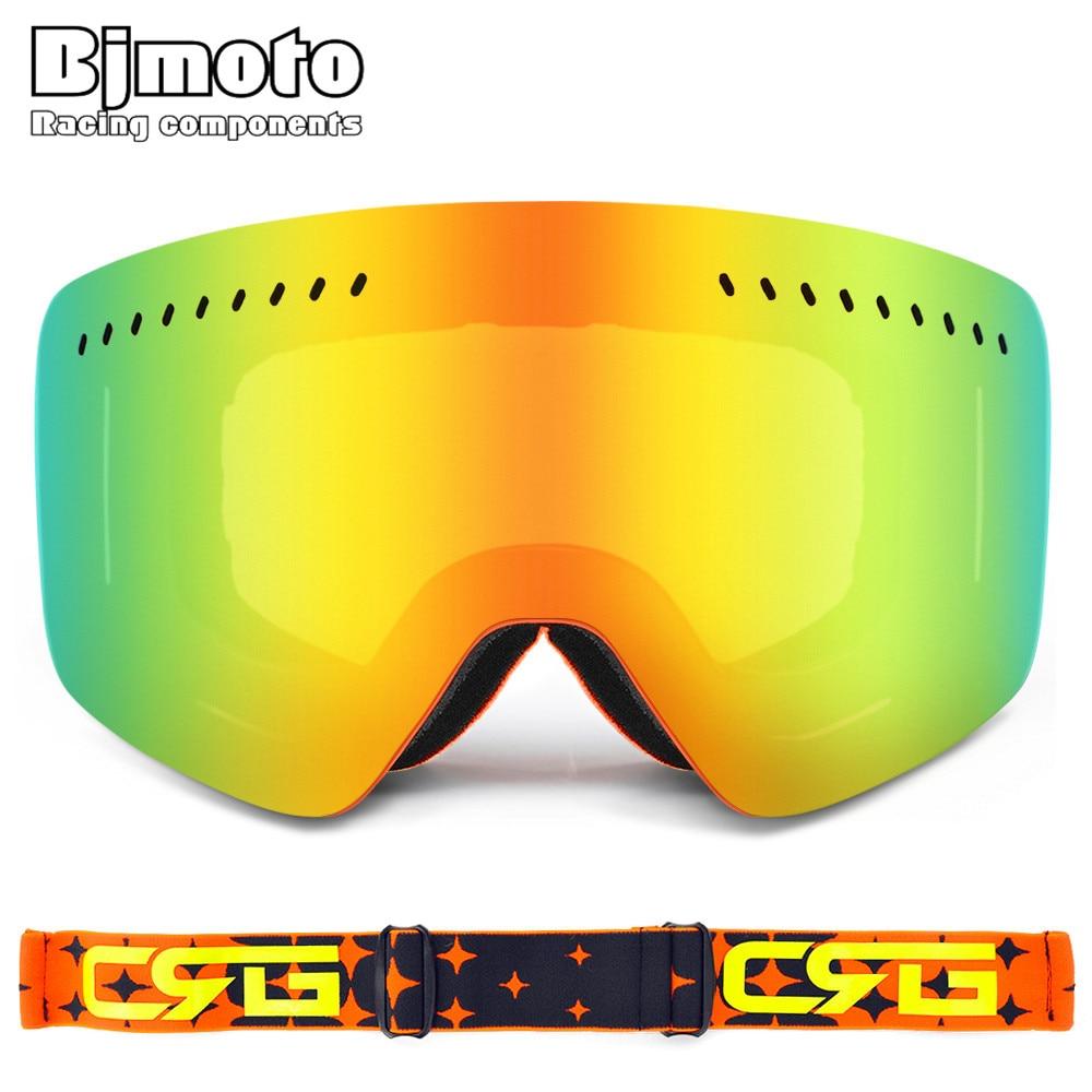 BJMOTO Moto Multi Colors breathable Snow Ski Goggles unisex Glasses Anti-fog Lens Snowboard Snowmobile sports googles glasses