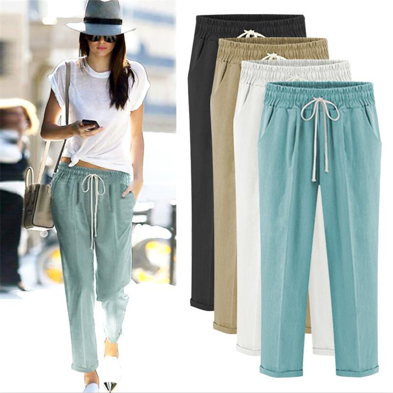 Autumn 2020 Solid Elastic Waist Linen Cotton Women Pants Loose Casual Summer Pants Plus Size M-5XL 6XL 7XL Full Length Trousers