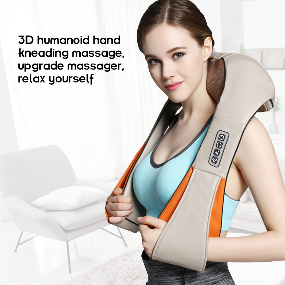 Electric Neck Kneading Massager Back Shoulder Neck Cervical Massage Shawls Device Body Heating Knocking Massager Home (EU Plug)Electric Neck Kneading Massager Back Shoulder Neck Cervical Massage Shawls Device Body Heating Knocking Massager Home (EU Plug)