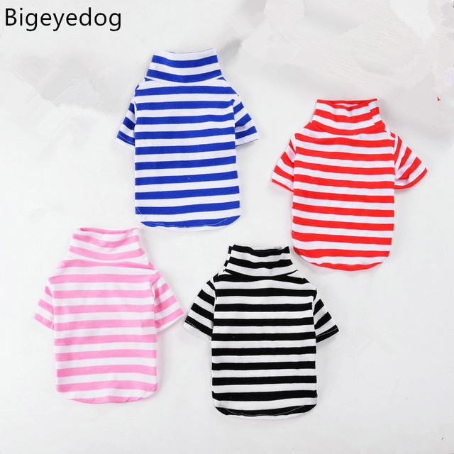 Bigeyedog Pet Dog T-shirt Vest Cat Clothes Puppy Shirt Chihuahua Poodle Yorkshire Terrier Dog Clothes Pet Clothing Striped Shirt