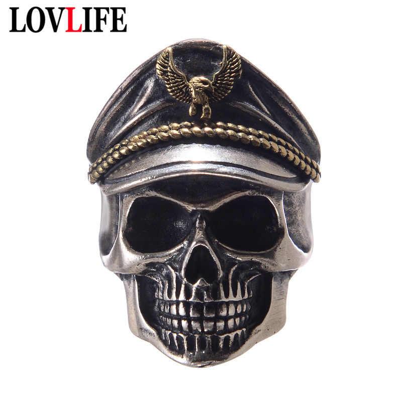 Vintage gorro de águila capitán oficial cráneo cabeza hombres anillos conmemorar la Segunda Guerra Mundial legión no-muertos Retro Color plata Honor anillo