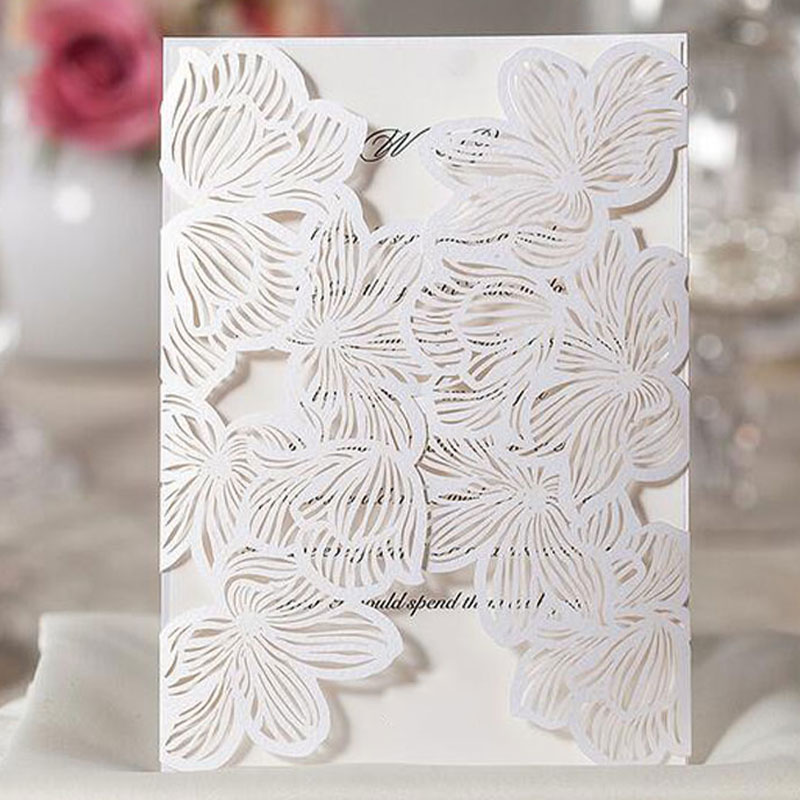 Laser Flora Printable Wedding Invitation Cards Kit Bowknot Party Souvenirs Wedding Decor 10pcs JK0573 1 design laser cut white elegant pattern west cowboy style vintage wedding invitations card kit blank paper printing invitation