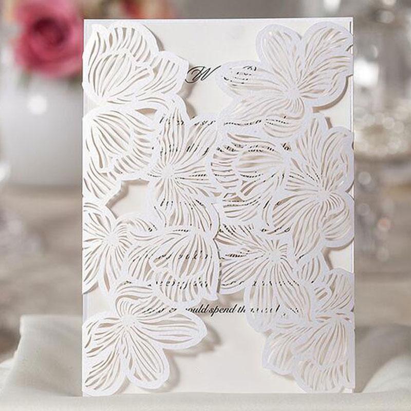 Laser Flora Printable Wedding Invitation Cards Kit Bowknot Party Souvenirs  Wedding Decor 10pcs JK0573(China