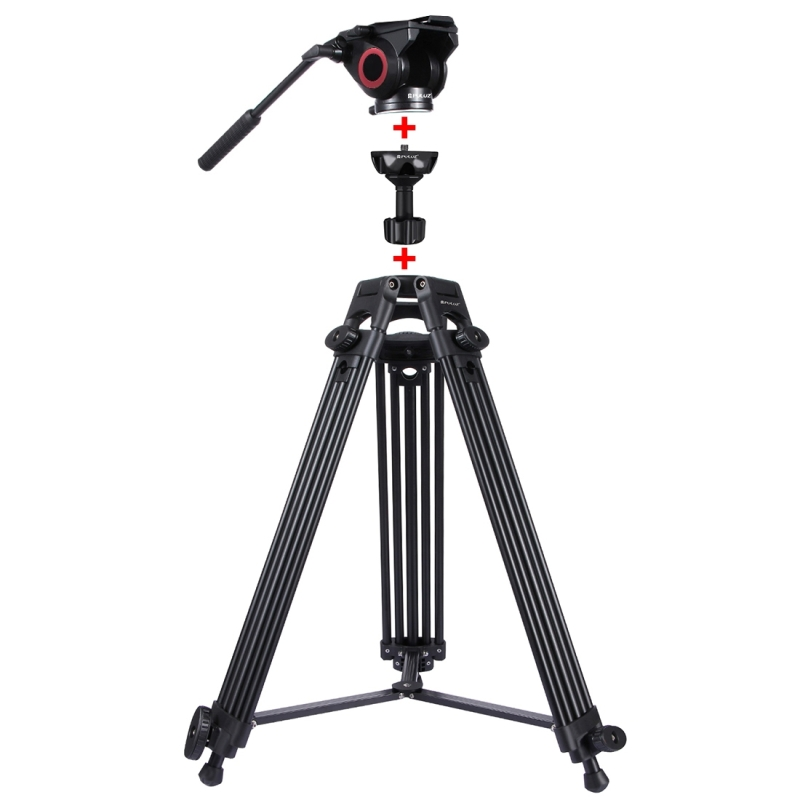 PULUZ 3 in 1(Tripod+Bowl Adapter+Gold Fluid Drag Head)Heavy Duty Video Camcorder Aluminum Alloy Tripod Mount Kit for DSLR /SLR puluz heavy duty video camera tripod action fluid drag head with sliding plate for dslr