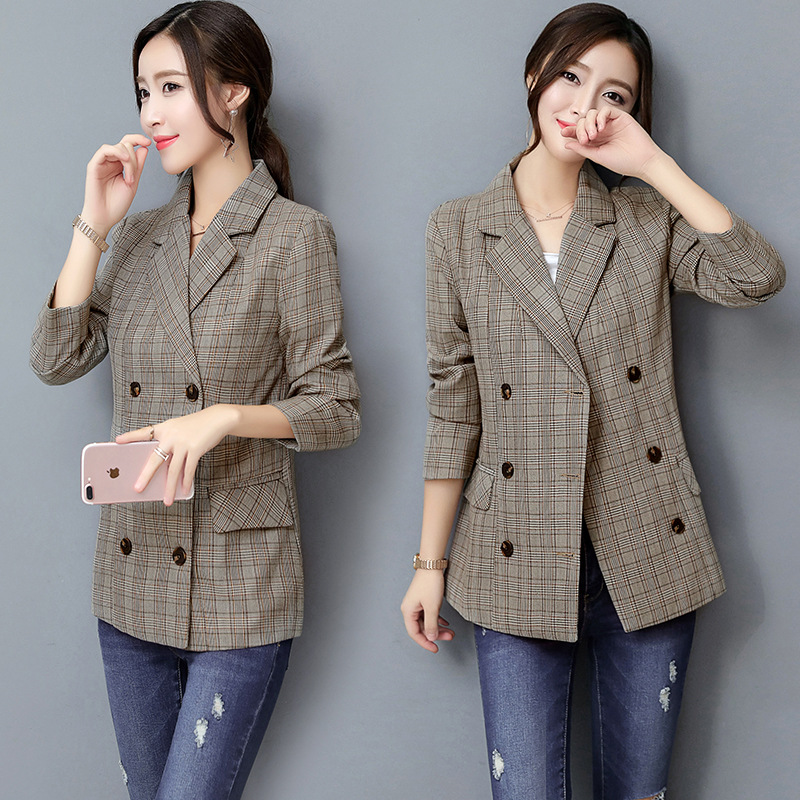 New Spring Fashion Plaid Blazer Casual Suit Women Blazer Slim Double Breasted Work Design Coat jackets