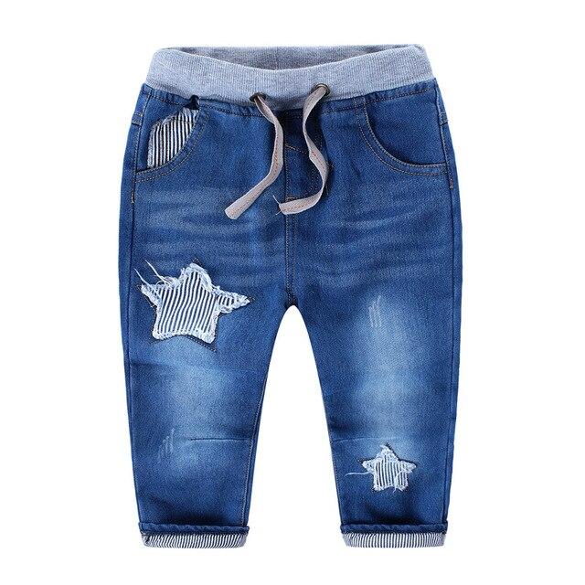 Детская зимняя мода густой шерсти джинсы мальчики гарем брюки рваные джинсы 2015 Новых детей пять звезд шаблон ковбойские брюки