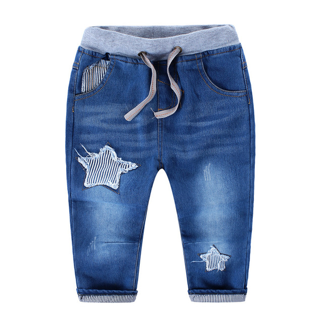 Children winter fashion thick fleece jeans boys harem pants ripped jeans of 2015 New children five stars pattern cowboy trousers