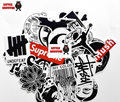 45 mixed graffitis pegatina suprema impermeable decoración para el hogar Doodle portátil estuche de viaje etiqueta de la motocicleta accesorios Del Coche etiqueta engomada del coche