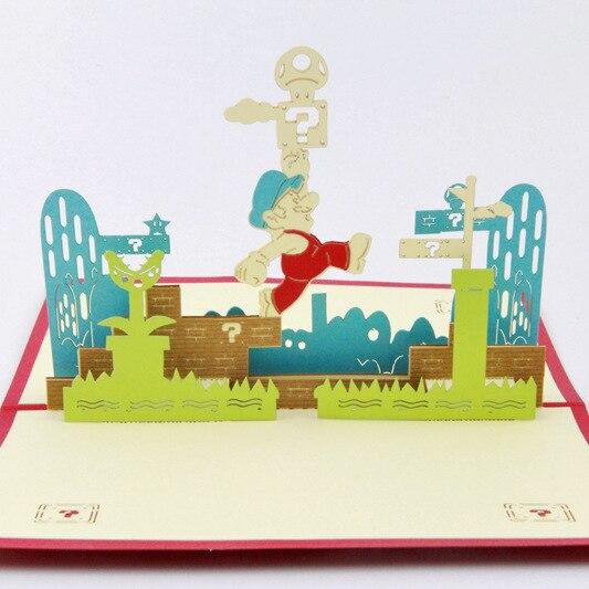 Qubiclife 3D стерео карты Супер Мари Марио трехмерная бумаги открытки